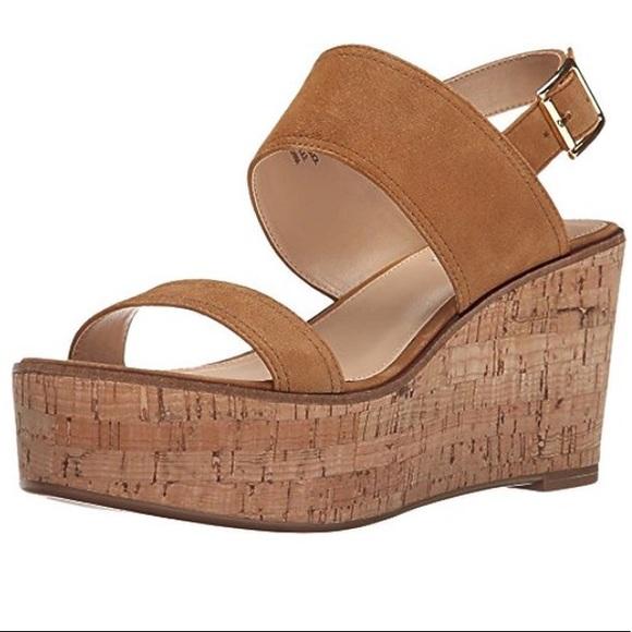 99796ecdde8 Steve Madden Caitlyn Tan Suede Cork Wedge Sandals